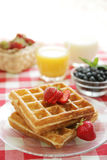 Strawberry waffles royalty free stock images