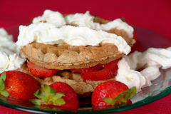 Strawberry Waffles Royalty Free Stock Photography