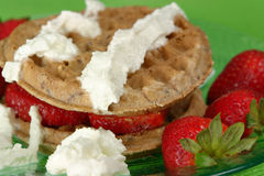Strawberry Waffles. Ready to eat Royalty Free Stock Images