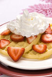 Strawberry waffles with whipped cream Stock Images