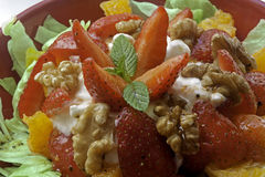 Strawberry and walnut salad Stock Photo