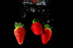 Strawberry in water Stock Photography