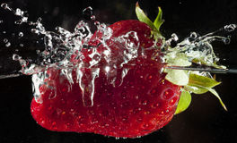 Strawberry in water Royalty Free Stock Photos