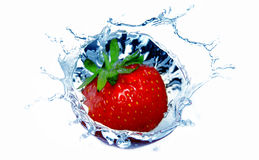 Strawberry in water Stock Images