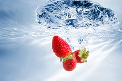 Strawberry in water Stock Image