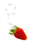 Strawberry in water with air bubbles. Strawberry falling into water, with air bubbles, in front of white background, union of the three things essential to live stock image