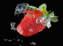 Strawberry with water bubbles. On black background Royalty Free Stock Photos