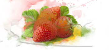 Strawberry- water color. Abstract Background with  strawberry  watercolor Stock Photo