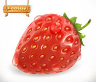 Strawberry and water drops. 3d vector icon. Strawberry and water drops. Fresh fruit, 3d vector icon Stock Photo