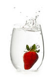 Strawberry into water glass with splash Stock Images