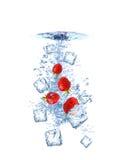 Strawberry water splash Stock Photos
