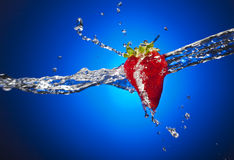 Strawberry with Water Splash Stock Photo