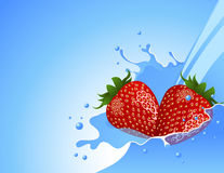 Strawberry in the water splash Stock Photography