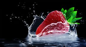 Strawberry, Water Splashes Royalty Free Stock Photography
