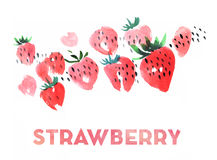 Strawberry watercolor illustration Royalty Free Stock Images