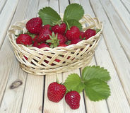 Strawberry in a wattled basket Royalty Free Stock Photos