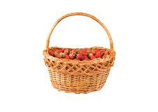 Strawberry in a wattled basket Royalty Free Stock Image