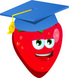 Strawberry wearing graduation cap Royalty Free Stock Image