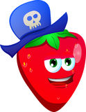 Strawberry wearing pirate hat Stock Photo