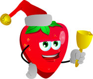 Strawberry wearing Santa's hat and playing bell Stock Photo