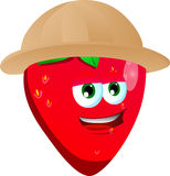 Strawberry wearing scout or explorer hat Royalty Free Stock Images