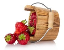Strawberry which have dropped out of bucket Stock Photography