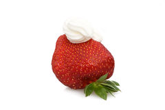 Strawberry With Whipped Cream Royalty Free Stock Photography