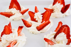 Strawberry with whipped cream Stock Photo