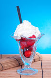 Strawberry with whipped cream Stock Photos