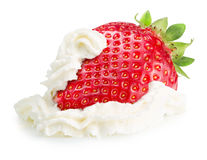 Strawberry with whipped cream isolated on a white background Stock Photography