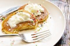 Strawberry whipped cream pancakes Stock Photo