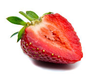 Strawberry on white background. Close-up of strawberry on white background royalty free stock photo