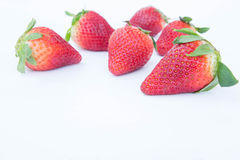 Strawberry on white background fruit& x27;s healthful cordial, useful Stock Photos
