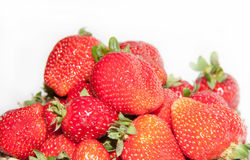 Strawberry on white background.  rustic style. Strawberry on plate on white background Stock Photo