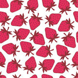 Strawberry on white background seamless pattern Stock Photography