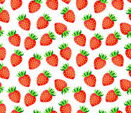 Strawberry on white background seamless vector pattern. For print design or postcard Royalty Free Stock Photography