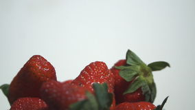 Strawberry on white background spinning stock video