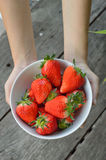 Strawberry in  white bowl with hands. Strawberry in  white bowl with women hands Stock Photo