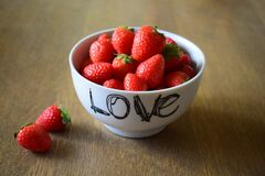 Strawberry on White Ceramic Bowl Stock Photo