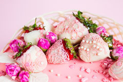 Strawberry in white chocolate cake decoration Royalty Free Stock Photos