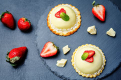 Strawberry white chocolate cream cheese mousse cake Stock Photo