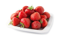 Strawberry in white plate Stock Images