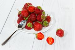 Strawberry in white plate Stock Photography