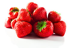 Strawberry on white reflexive background. Ripe strawberry   on white reflexive background Royalty Free Stock Photography