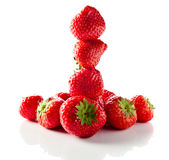 Strawberry on white reflexive background. Ripe strawberry  isolated on white reflexive background Stock Photography