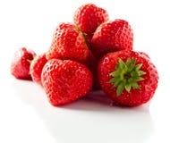 Strawberry on white reflexive background Stock Photos