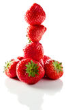 Strawberry on white reflexive background Royalty Free Stock Images