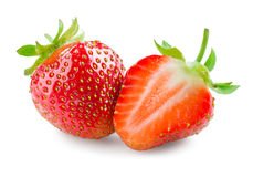 Strawberry. Whole berry and a half isolated on white Stock Images