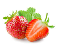 Strawberry. Whole berry and a half isolated on white Royalty Free Stock Photos