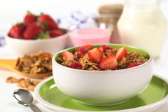 Strawberry on Wholewheat Cereal Stock Image
